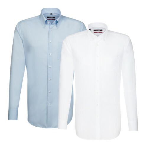 Seidensticker Uomo Manica Lunga Business Camicia Splendesto BD Bianco /& Blu 3002