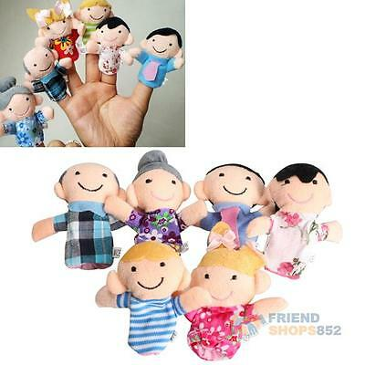 6Pcs Family Finger Puppets Cloth Doll Baby Educational Hand Toy Story Kid #F8s