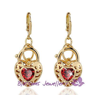 18K GOLD GF HEART Padlock Womens EARRINGS AMETHYST RUBY CRYSTAL  3 COLOR ES614