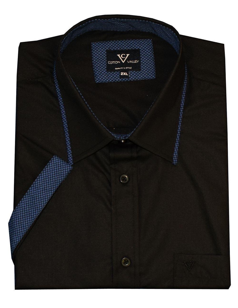 Cotton Valley Valley Valley Uomo Manica Corta Camicia Alla moda (14346) NERO   Blu 0968b0