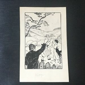 Dessin-Original-Esquisse-1920-Illustration-Livre-Enfants-Signe-M-Moulinie
