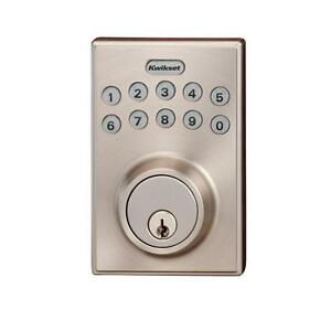 kwikset keyless entry electronic deadbolt satin nickel. Black Bedroom Furniture Sets. Home Design Ideas