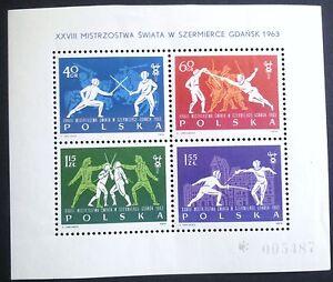 POLAND STAMPS MNH Fibl27 Sc1147-50 Mibl29 - Fencing Champions, 1963, ** - Reda, Polska - POLAND STAMPS MNH Fibl27 Sc1147-50 Mibl29 - Fencing Champions, 1963, ** - Reda, Polska