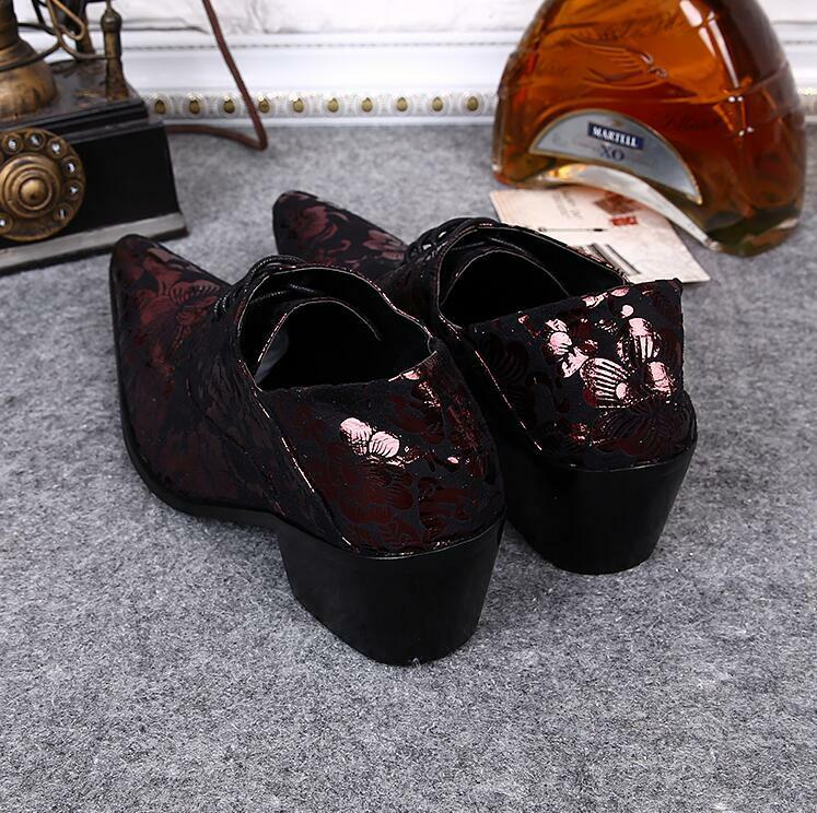 British Style Uomo Uomo Uomo Floral Lace up Block Heels Formal Shoes 02d58f