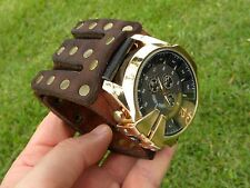 Buffalo Leather handmade bracelet Men`s Brass Rose color Watch Steam punk