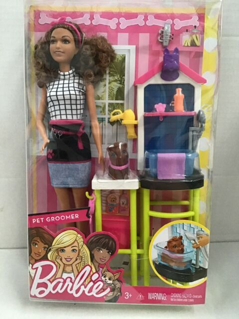 MATTEL Barbie PET GROOMER Playset  Brunette  - You Can Do Anything Series  NEW