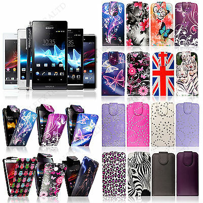 New Printed Magnetic Flip Case Cover pouch For Sony Xperia Mobile Phones+Stylus