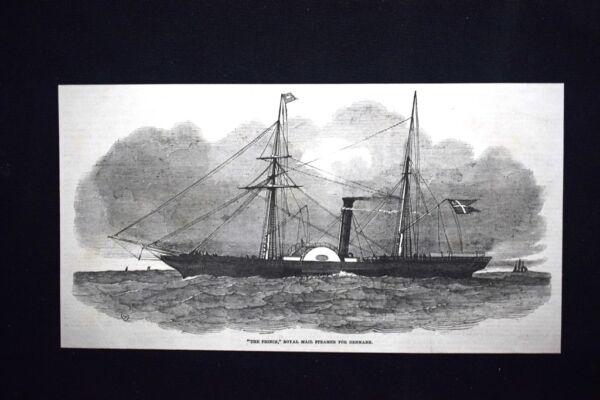 """""""the Prince"""", Il Regio Vapore Della Posta Di Danimarca Incisione Del 1851"""