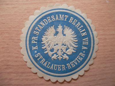Pr Standesamt Berlin Vii Stralauer-revier Siegelmarke Frank 12796 K