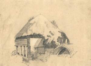 C. Baines - 19th Century Graphite Drawing, Mill House