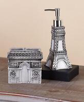 Romantic Vintage Paris Themed Black And White Sink Countertop Accessory Set