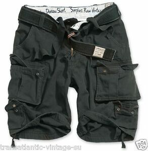 SURPLUS-ARMY-MENS-DIVISION-CARGO-SHORTS-COMBAT-KNEE-LENGTH-amp-DELUXE-BELT-BLACK