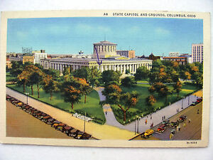 Linen-Postcard-Columbus-Ohio-State-Capitol-Curt-Teich-New-c-1933