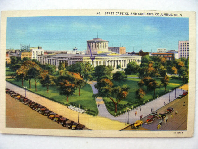 Linen Postcard Columbus Ohio State Capitol Curt Teich New c.1933