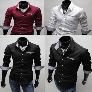 HOT Mens Boys Slim Skinny Fit Shirt Smart Casual Formal Dress ...