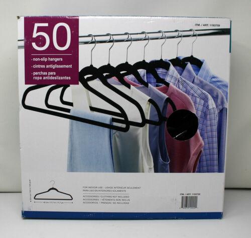 Flocked Velvet Non Slip Black Suit Clothes Hanger Hook Swivel 360° 50 Pack