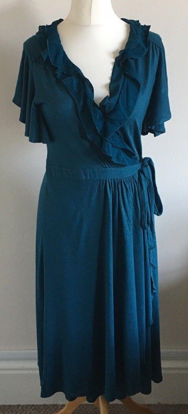 Monsoon Größe 12 Ladies Grün V Neck Wrap Dress BNWT