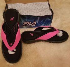 76e7022b1b58bf FILA Amazen Memory Portal Women s Pink Black Thong Sandals Size 11