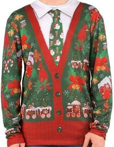 Faux Real Ugly Christmas Sweater Look Xmas Cardigan Holiday Long Sleeve Shirt