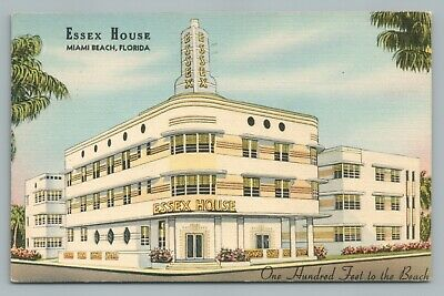 Essex House Miami Beach Florida Art Deco Hotel Vintage Linen Postcard 1942 Ebay