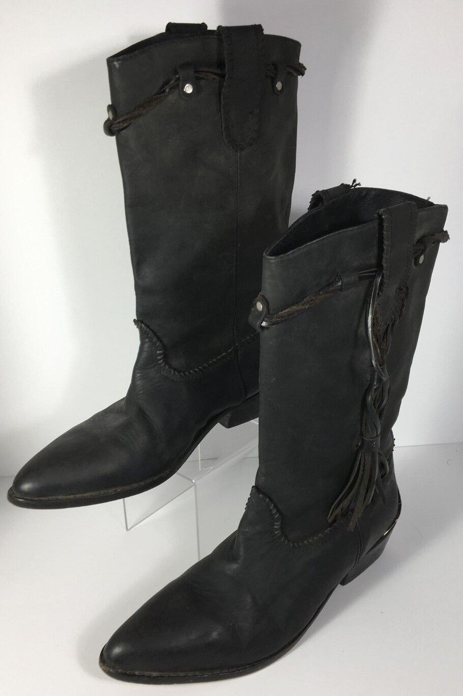 Vintage Paolo Fellicce Men's Black Fringed Cowboy Western Boot Size 9&1 2 D