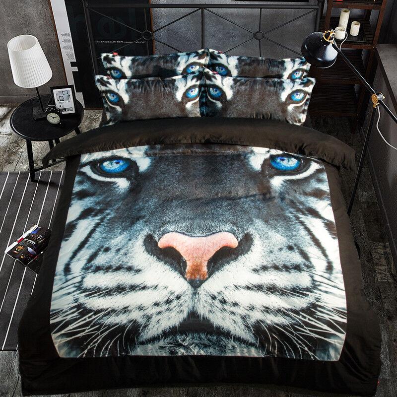 3D Doodle Tiger 7880 Bed Pillowcases Quilt Duvet Cover Set Single Queen King CA