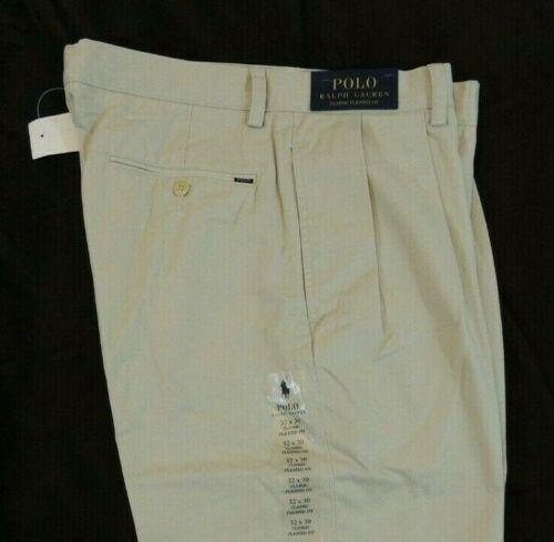 Ralph Lauren Polo Logo Chino Classic Pleated Fit Khaki Pants 32 33 34 30 Sand