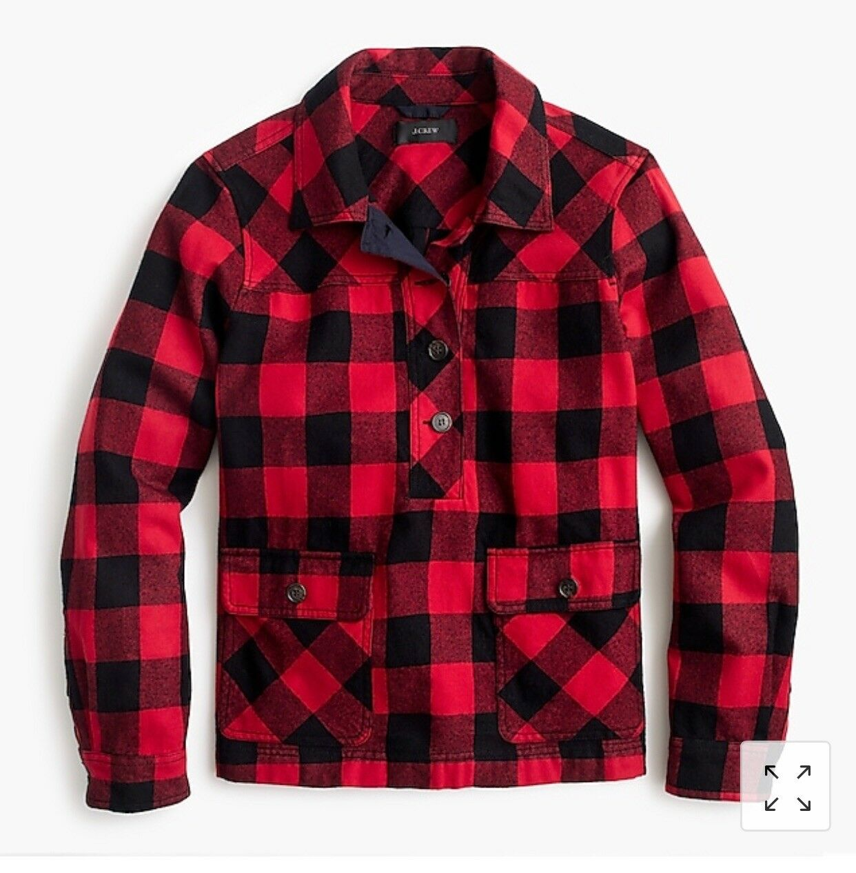 J.Crew Shirt-jacket in buffalo check , rot schwarz, XS, sold out