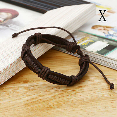 New Fashion Men Women Leather Wrap Wristband Cuff Punk Bracelet Bangle Fashion