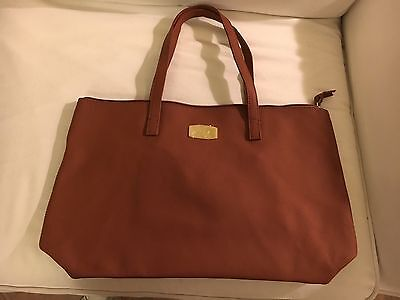 NEW*   Joy /& Iman  Brown Leather Tote//Purse w// Detachable RFID Wristlet Clutch