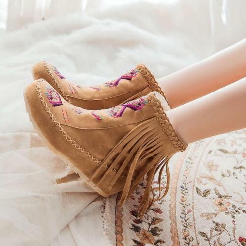Femme Boho franges Hidden Wedge Moccasin Bottines Nouveau Bottes Chaussures Rétro Fashion New