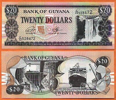 GUYANA  20  DOLLARS  2012  P NEW   LOT 2 PCS  Uncirculated Banknotes
