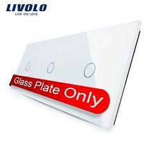 Original LIVOLO 3 Fach Glasblende für Touch Lichtschalter Weiß Paneel Glas
