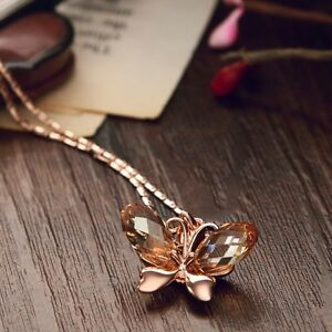 Made-With-Shiny-Swarovski-Crystal-Champagne-Rose-Gold-Butterfly-Necklace-Pendant