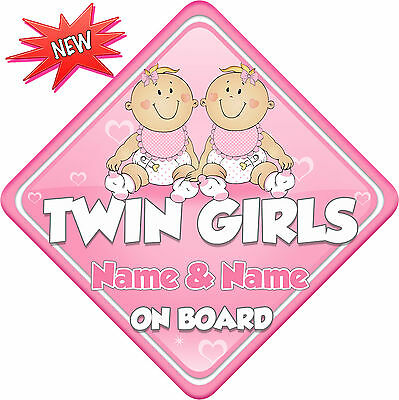 Minnie Mouse Twin Girls On Board Car Laminated Sign