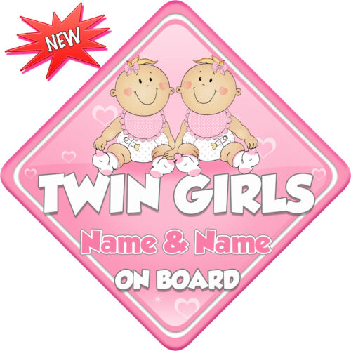 Personalised Twin Girls Child//Baby on Board Car Sign New Pink New Babies