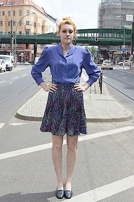 Donna Gonna Gonna A Pieghe Lilla Colorato Viola Skirt Tg. 36 80er True Vintage 80s Women-mostra Il Titolo Originale Processi Di Tintura Meticolosi