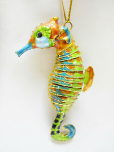 """Seahorse Ornament, Articulated Enameled Metal Sea Life Ornament, Gold Edged,  4"""""""