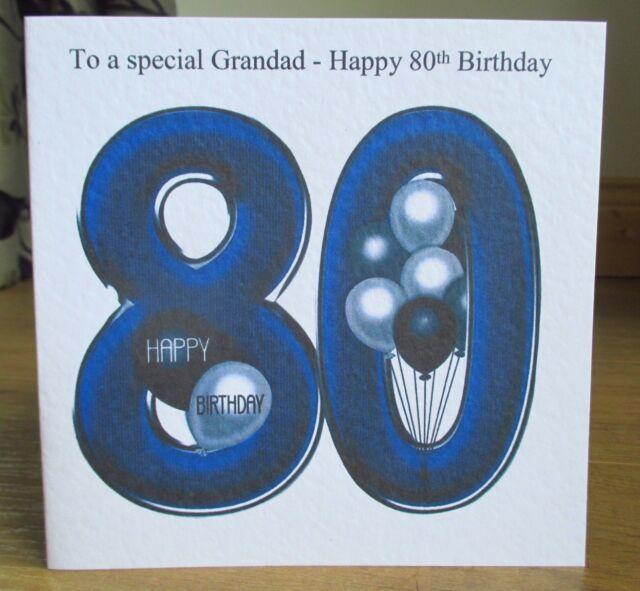 Personalised Handmade Balloons 80th Birthday Card Dad Grandad