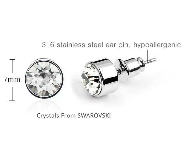 22db967d366c0 Harley Crystal Pierced Earrings 7mm - Made with Swarovski Elements - In  Gift Box