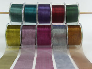 Sheer-Shiny-Pin-Striped-Ribbon-50mm-Wide-5-6-amp-10-Metres-10-colour-Choice-CRD14