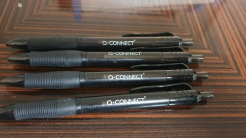 4 x Q-Connect BLACK Retracrable Ballpoint Pen Stationary *CHEAPEST ON *