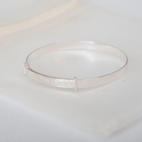 Sterling Silver Twinkle Twinkle Adjustable Baby Shower Gift Bangles Bracelets