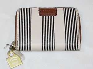 Fossil-SL7499080-RFID-Mini-Zip-PL2-Black-White-Stripe-Leather-mini-card-cs-NWT