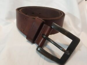 FOSSIL-full-grain-COWHIDE-weathered-leather-belt-brass-buckle-Retro-Classic-34