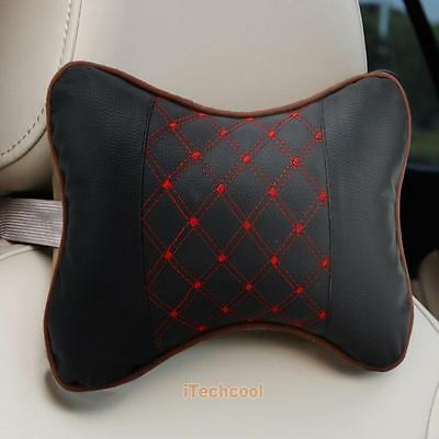 2pcs Car Headrest Pillow Pad Car Automotive Leather Seat Head Neck Rest Cushion