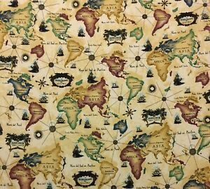 Details about ITALIAN WORLD MAP SET SAIL BEIGE SHIPS COMPASS NOVELTY FABRIC  BY YARD 54\