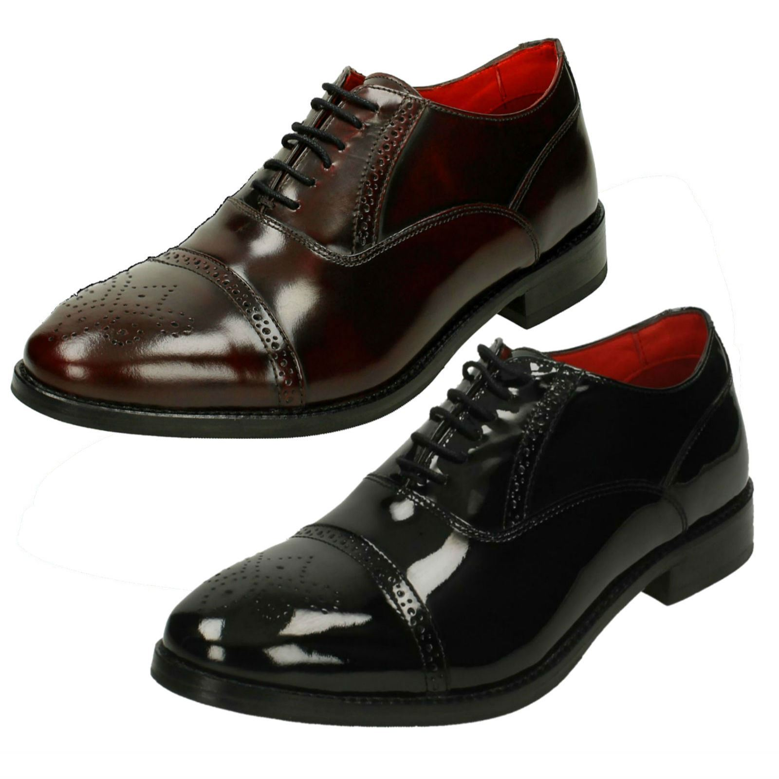 Mens Base London Noel Hi Shine Leather Smart Lace Up Shoes