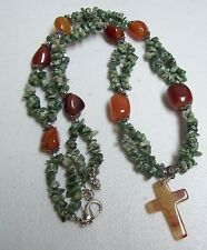 TREE AGATE & CARNELIAN Chunky Necklace w/ Cross