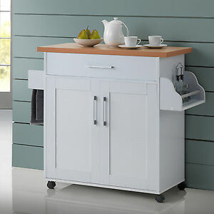 White Kitchen Island Cart On Wheels With Wood Top Rolling Storage Cabinet Table Ebay